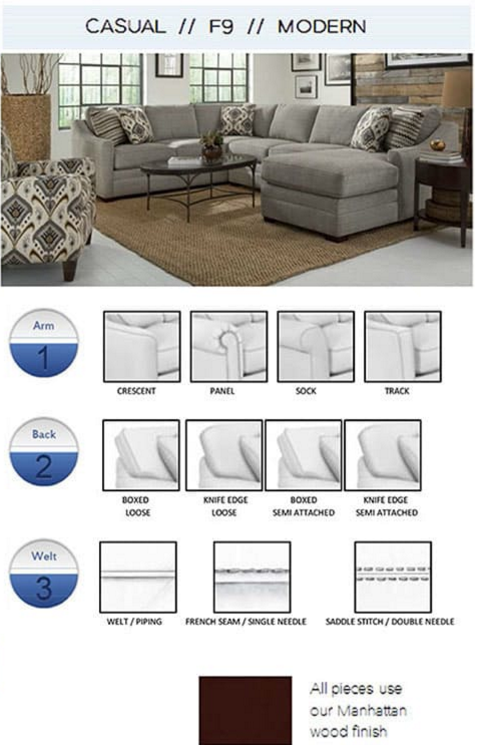 F9 Track Arm Custom Select Sectional With Chaise One Ten