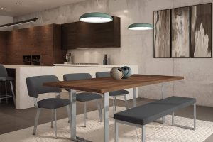 Modern Wood & Metal Dining Room Furniture Set - Burton