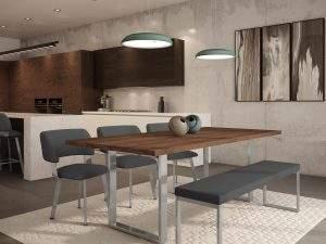 Modern Wood & Metal Dining Room Furniture Set - Burton