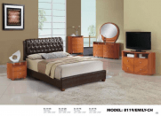 Global Furniture Emily Cherry Upholstered Glossy Bedroom Set