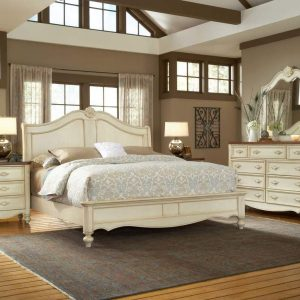 Chateau - 3501 Soft White Finish With Mahogany Tops