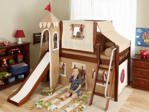 Low-loft-castle-bed-with-slide-brown